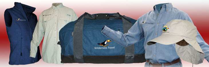 Wilderness Travel items with logos